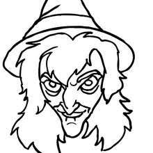 Wrinkled Witch Eats Cockroach Scary Face Coloring Page