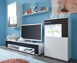 details zu wohnwand weiß schwarz wohnzimmer schrankwand medienwand anbauwand schrank corner