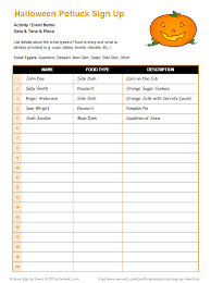 Halloween Potluck Invitation Templates by Potluck Sign Up Sheets For Excel And Google Sheets
