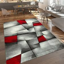 designer teppich abstrakte muster grau rot