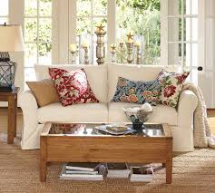 Decorations Vintage Living Room Design Featuring Decorative Red Blue And Cream Cushions Two