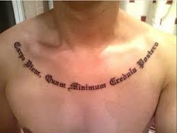 Tattoo Men Words 3 Wonderful Carpe Diem Inked Across Sternum