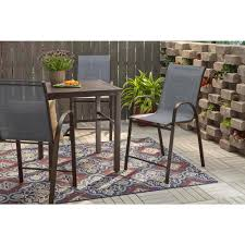Hampton Bay Mix And Match Stackable Sling Balcony High Outdoor Dining Chair  In Denim 10 Style Tips For Pulling Off A Mix Match Ding Set Apartment Fniture Styles Modern Traditional Zin Home Bar Kitchen Crate And Barrel Easy Ways To Patterns In Your Freshecom 7 Piece Table 6 Chairs Glass Metal Room Black Sterdam Modern Mix And Match School Chairs Workspaces Diy Mixing Wood Tones Need Living Makeover Successfully How Mix Match Pillows To With Your Bedroom Pop Talk Swatchpop