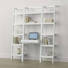 Sawyer White Leaning Desk With Two 18 Bookcases
