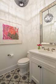 Bathroom Mosaic Mirror Tiles by Gray Sink Vanity With White And Black Cement Floor Tiles