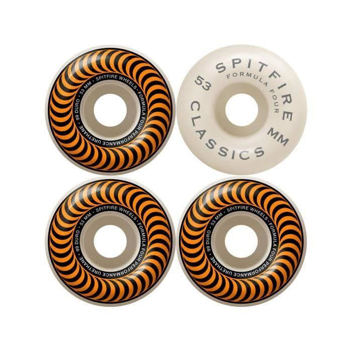 Spitfire F4 Classic Skateboard Wheels - Orange, 53mm /99D