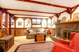 100 Rustic Ceiling Beams Furnished Family Room With A Stoned Background Fireplace