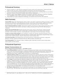 Resume Synopsis Examples Marketing Summary Example Professional