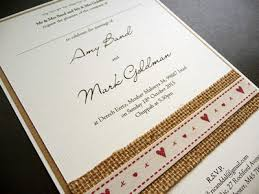 Brown And Ivory Triple Layered Rustic Kraft Card Flat Invitation With Hessian Heart Themed Ribbon