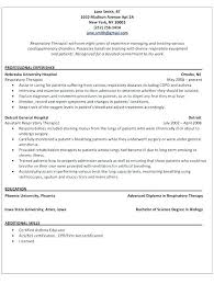 Respiratory Therapist Resume Sample Therapy Student Examples