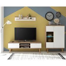 kleine wohnwand weiss eiche retro design wohnzimmer