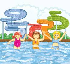 Subscription Library Kids Playing In The Swimming Pool Vector Illustration