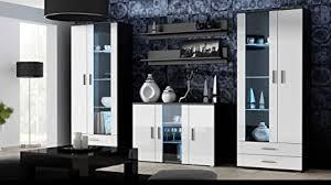 wohnwand soho 10 mit blauer led beleuchtung anbauwand wohnzimmerschrank schrankwand vitrine lowboard hängeregal schwarz weiß hochglanz