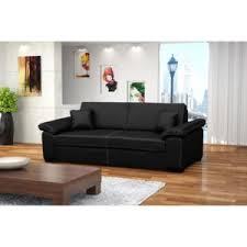 design canapé convertible cuir pu 3 places dolce noir