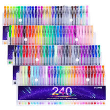 Amazon Tanmit 240 Gel Pens Set 120 Colored Pen Plus Refills For Adults Coloring Books Drawing Art Markers No Duplicates Office Products