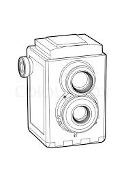 Vector Old Classic Camera Black Outline