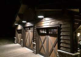 porcelain gooseneck lights adorn mountain cabin