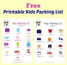 Free Printable Kids Packing List
