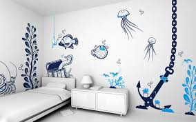 Interior Artistic Room Wall Designs With Animals Sea Painting Plus Simple Single Bed Side Cute