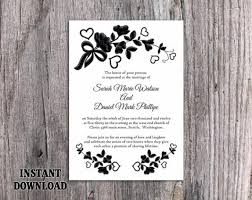 DIY Lace Wedding Invitation Template Editable Word File Download Printable Rustic Vintage Floral Black White 2492791