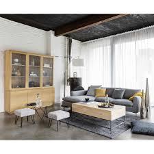 canap d angle design tissu canapé d angle 5 places en tissu gris clair maisons du monde