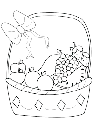Printable Fruit Coloring Pages Fruits X For Kindergarten Page Basket Download Free