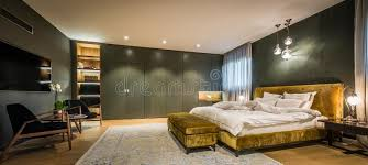 master bedroom interior with luxury bathroom stock image