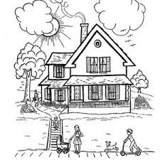 Perfect House With Family In Houses Coloring Page