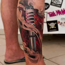 ANOTHER GREAT CYBORG LEG TATTOO EXPOSING A SHOCK