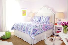 Top Notch Picture Of Girl Teen Bedroom Decoration Using Light Purple And Pink Vogue Bedding Including Curve Studded White Velvet Headboard