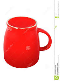 Download Inverted Red Coffee Cup On White Background Stock Image