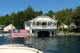 Boathouse from Lake George Picture of Boathouse Bed and