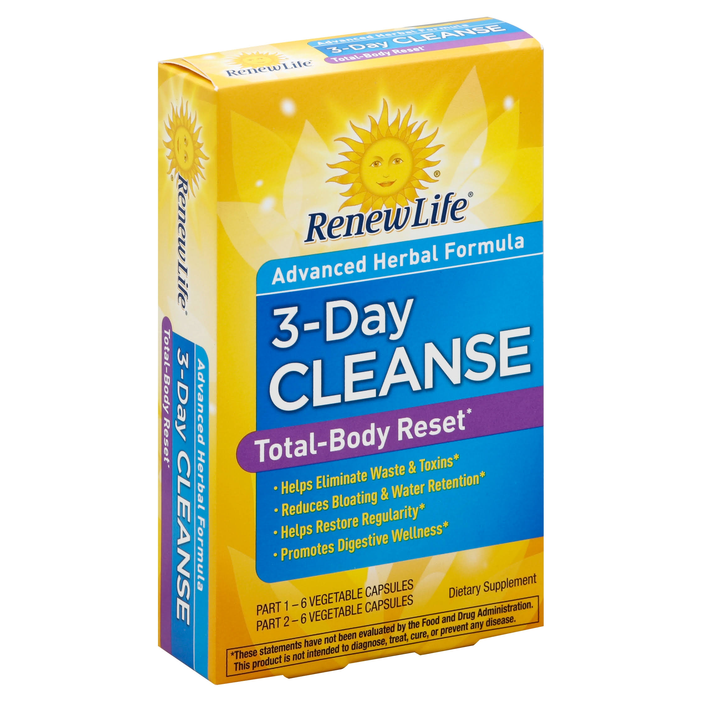 Renew Life Total Body Reset Digestive detox and Cleanse Supplement - 3 Day Program
