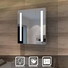 spiegelschrank led 2 türig badezimmerspiegel mit beleuchtung 60 x 70 cm kaltweiß infrarot sensorschalter badschrank mit rasierersteckdose
