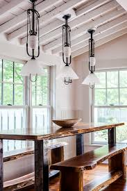 Antique Entrance Table Dining Room Farmhouse With Pendant Light Small House