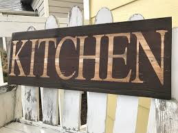 Distressed Kitchen Sign Red Brown