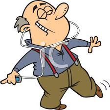 Cartoon of Grandpa Listening to an MP3 Player with Headphones