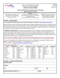 Ky Transportation Cabinet Forms by Kentucky Form Weight Fill Online Printable Fillable Blank