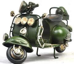 Large Scale Black Army Green Tinplate Vintage Vespa Model