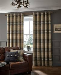 Ebay Curtains 108 Drop by Brushed Heritage Check Curtains Fully Lined Ring Top Eyelet