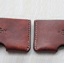 personalised slim leather card holder by hide u0026 home