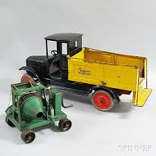 Polychrome Pressed Steel Cement Mixer And A Buddy