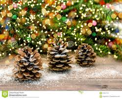 Download Pine Cone And Christmas Tree Branches Color Lights Decoration Stock Image