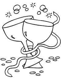 New Years Eve Coloring Page Of 2 Wine Glasses