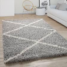 hochflor teppich wohnzimmer shaggy skandinavisches rauten muster modern in grau