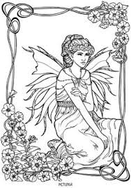 Petunia Fairy Fae Fantasy Myth Mythical Mystical Legend Elf Wings Elves Faries Coloring Pages Colouring Adult Detailed Advanced Printable Kleuren