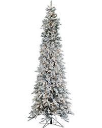Pre Lit Flocked Pencil Pine Christmas Tree
