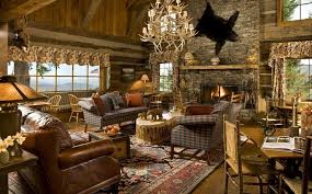 Rustic Cabin Living Room With Traditional Rug And Unique Chandelier Design
