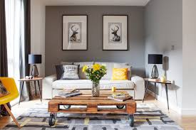Modern Rustic Living Room Design Ideas Transitional With Grey Walls Coffee Table Gray And Yellow