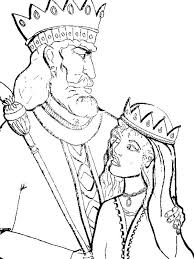 King Of Persia And Queen Esther In Purim Coloring Sheet Page